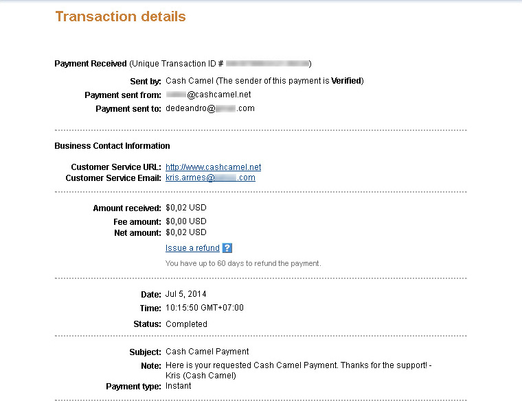 CashCamel Payment July 2014