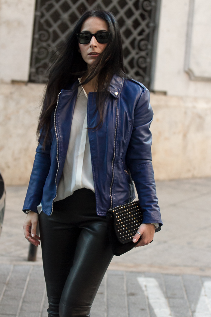 Carmona Leather Biker Jacket in Mazzirine Blue by MUUBAA