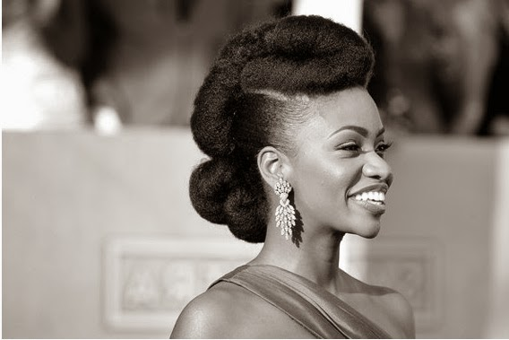 Pompadour hairstyle on natural hair
