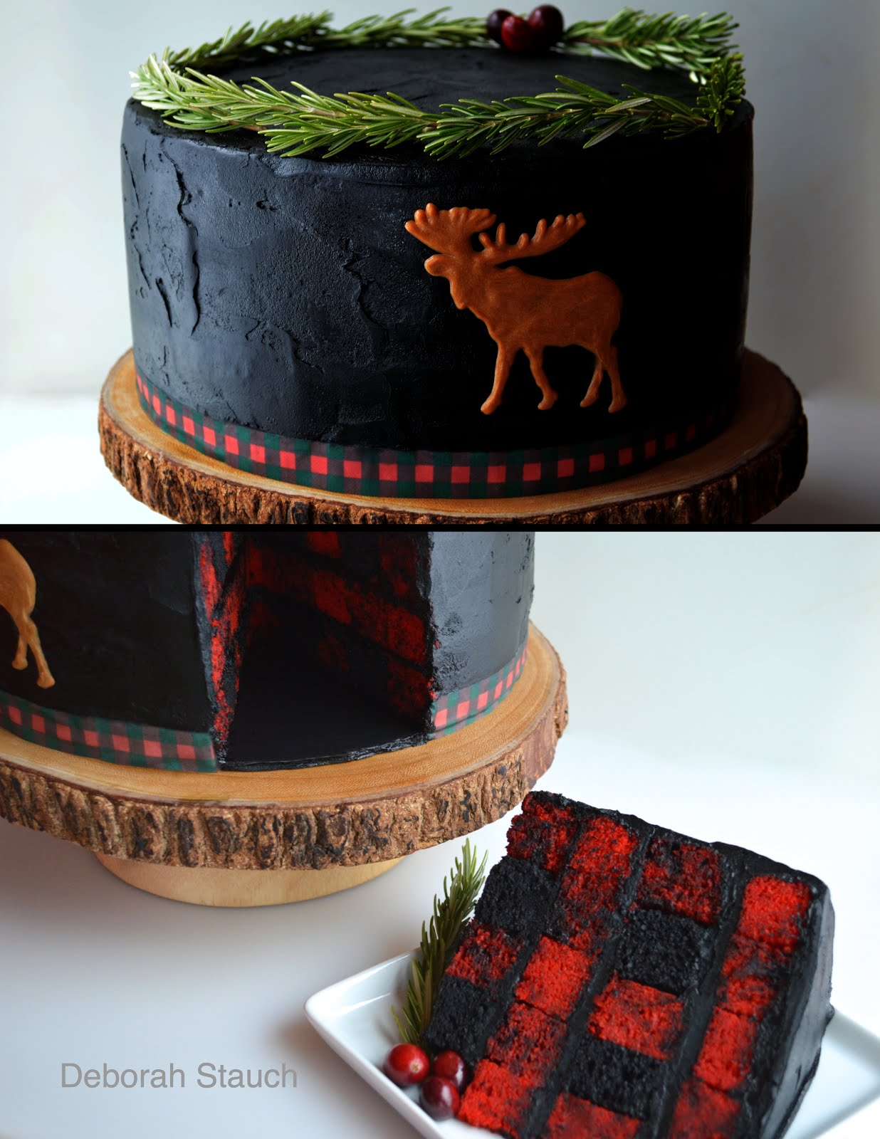 Once Upon A Pedestal Surprise Inside BuffaloLumberjack Plaid Cake - Buffalo birthday cake