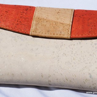 Green Tree Boutiques White Cork Ladies Wallet ruby with natural striped flap made wtih sustainable cork and vegan leather