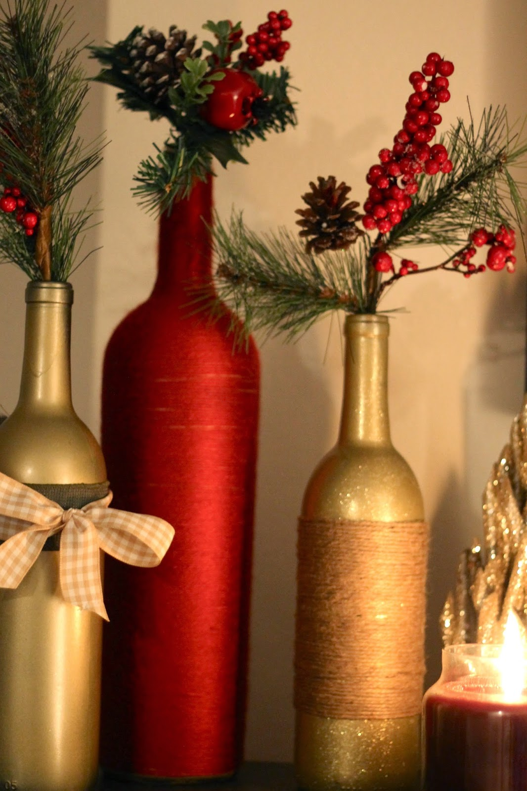 Diy holiday wine bottles pretty in the pines north for Christmas bottle decorations