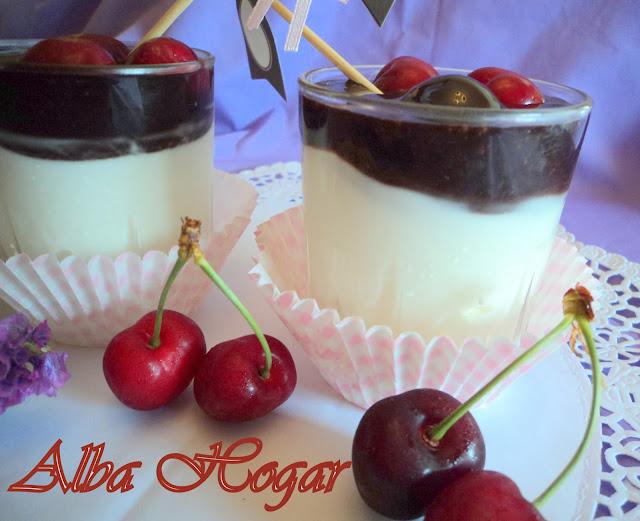 yogur griego con chocolate y cerezas alba hogar