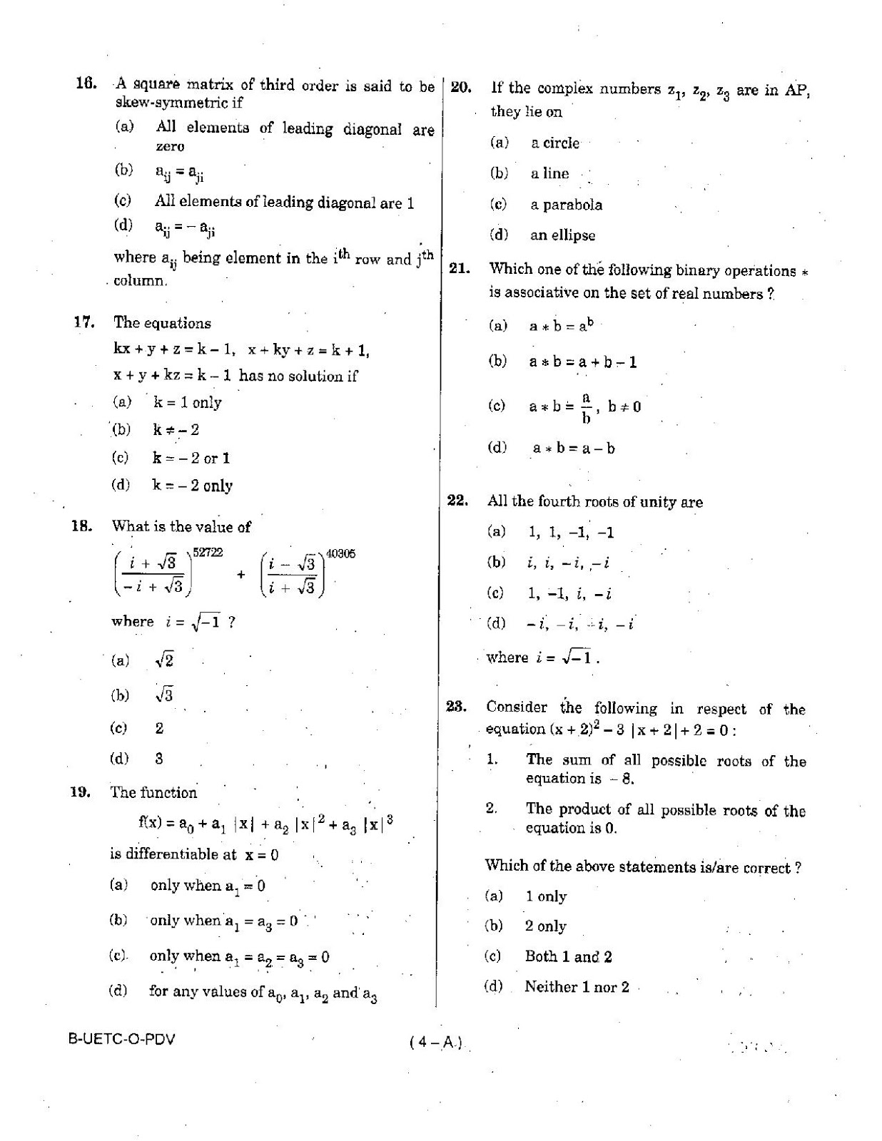 sixth term mathematics exam paper