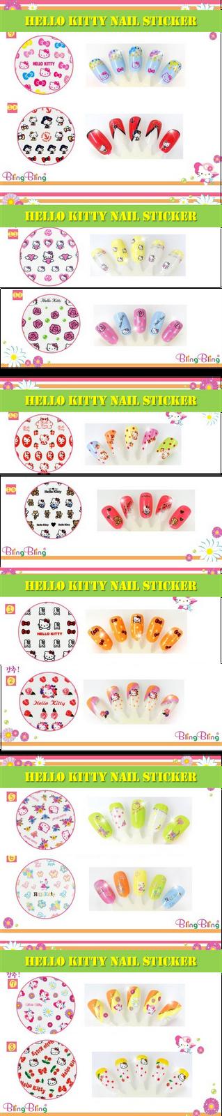 Hello Kitty Nail Sticker, Hello Kitty Nail Art Sticker