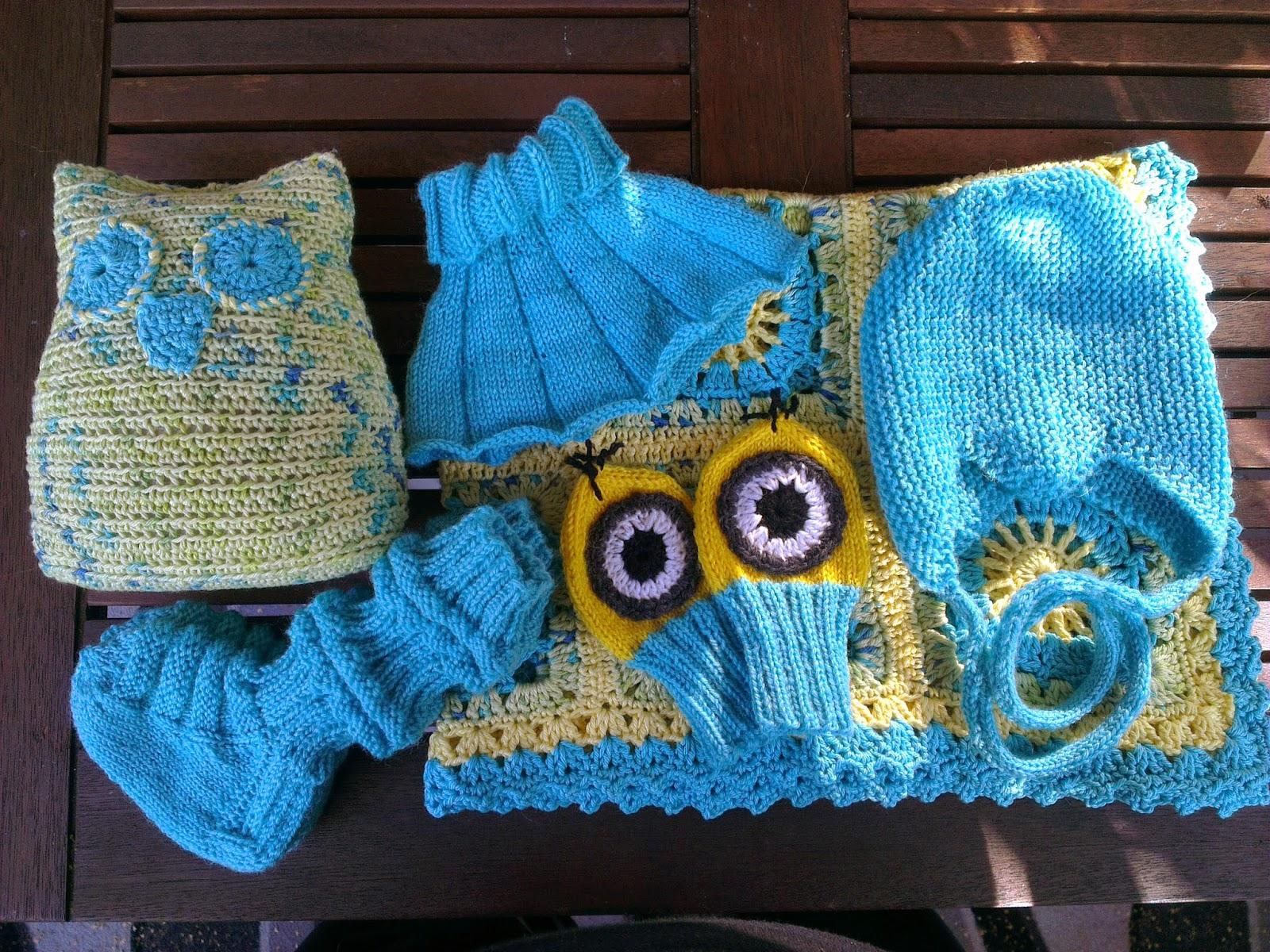 Itsetehty äitiyspakkaus, virkattu pöllö, virkattu viltti, junasukat, vauvan kauluri, vauvan myssy, vauvan lapaset