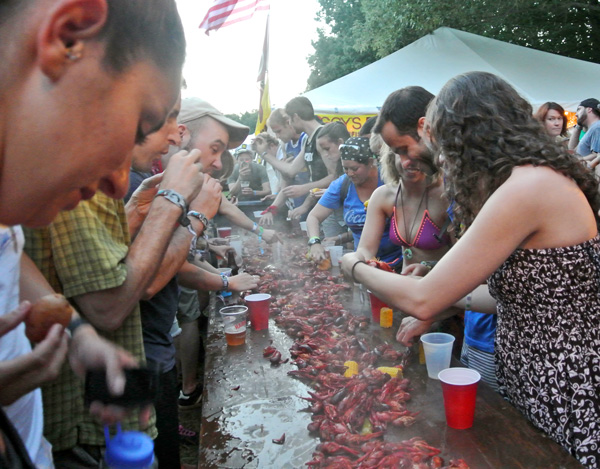 Crawfish Boil at Bonnaroo music festival in Tennessee