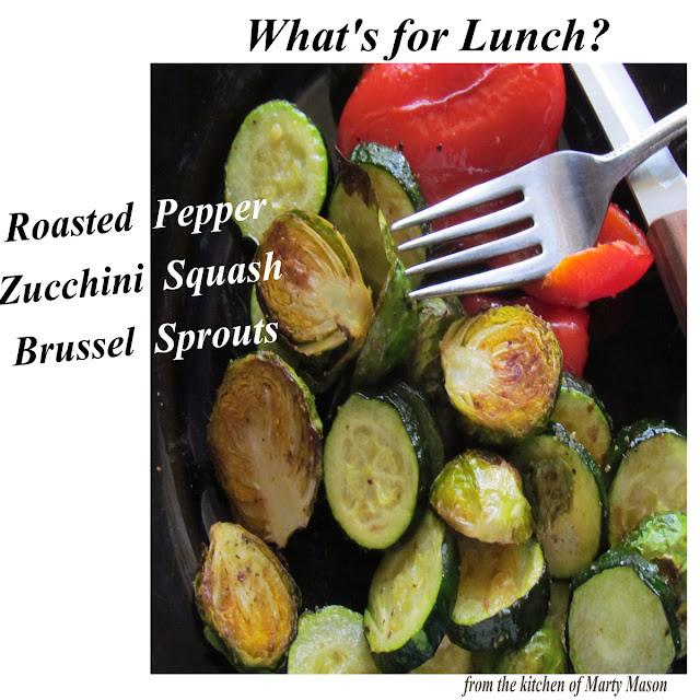 roasted pepper, zucchini squash and brussel sprouts