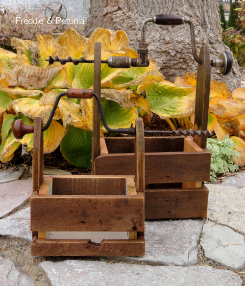 Drill handled homemade toolboxes by Freddy and Petunia, featured on I Love That Junk