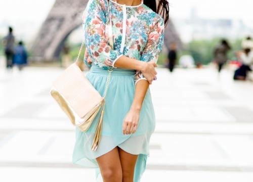 spódnica zwiewna, modna spódnica, miętowa spódnica