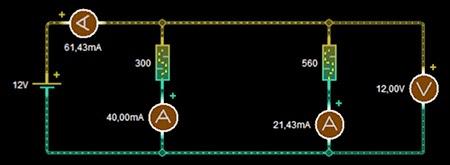 simulación circuito paralelo resistencias