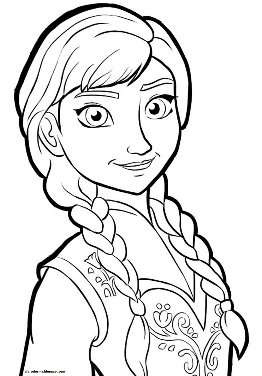 Free Printable Frozen Walt Disney Characters Coloring For Children Princess Anna Page