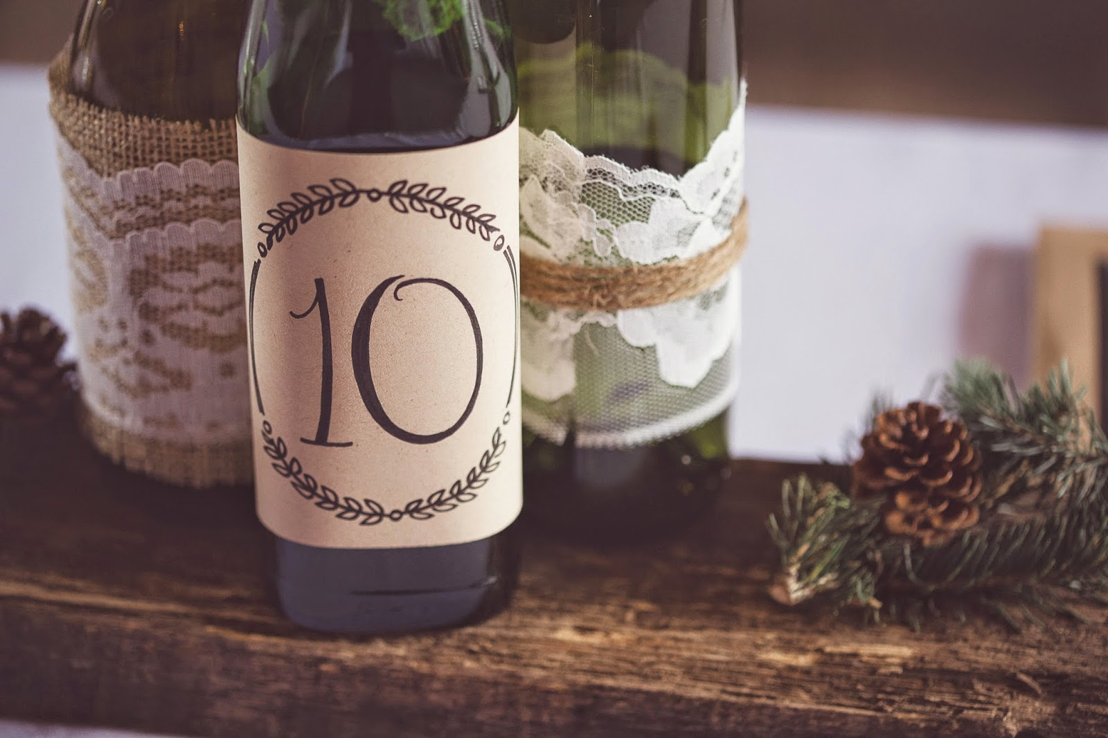 DIY Rustic Wine Bottle Centerpieces