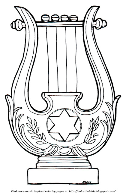 Color a kinnor color the bible for King david coloring pages