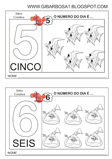 Fichas com Numerais e Quantidade Procurando Nemo