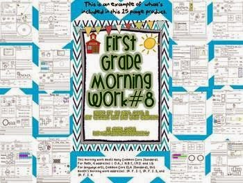 http://www.teacherspayteachers.com/Product/1st-Grade-Math-and-Literacy-Common-Core-Morning-Work-8th-Month-of-School-534008