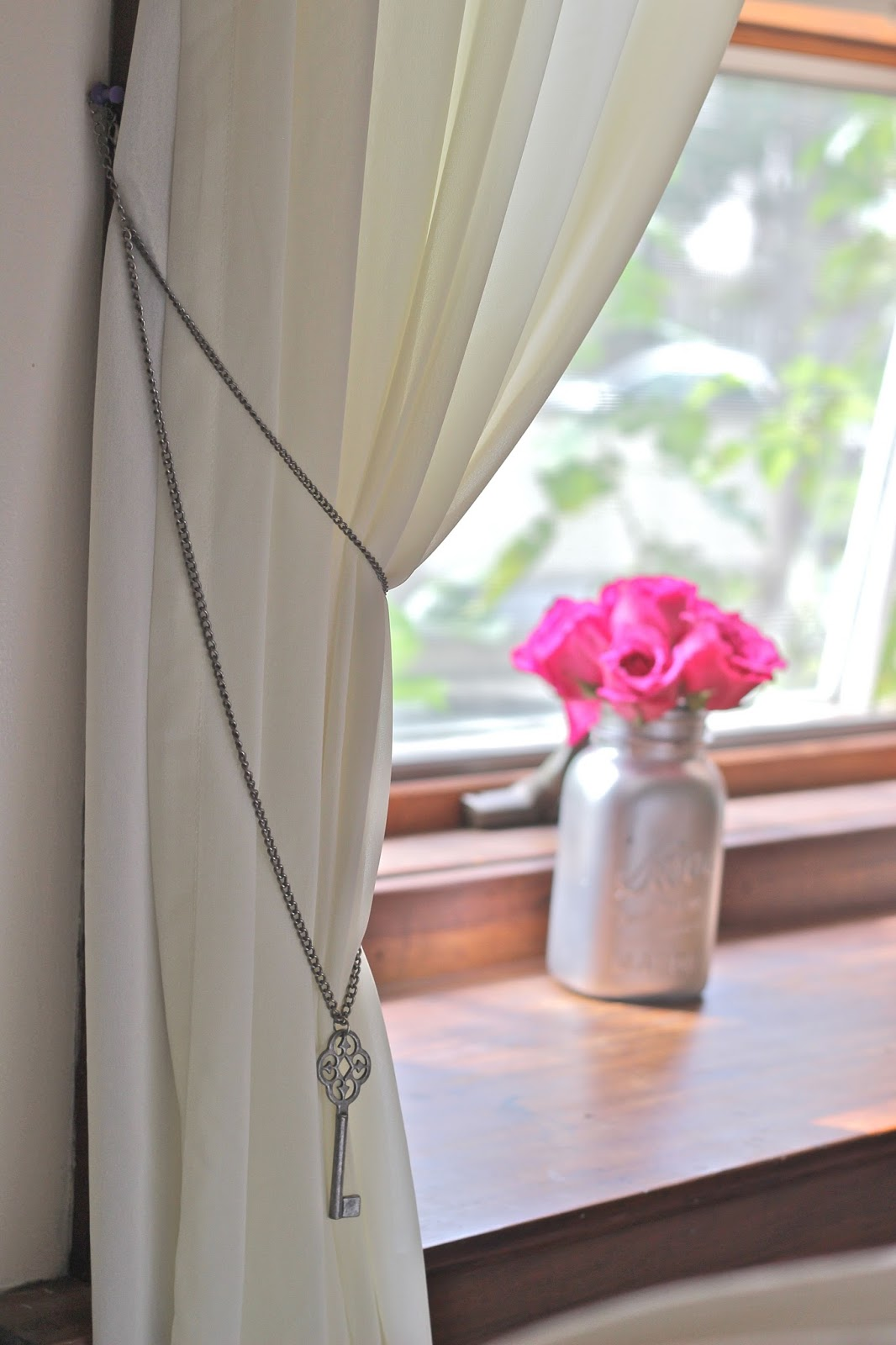 DIY Necklace Curtain Holders