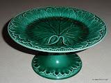 Wedgwood Barlaston Majolica Green Pedestal Plate