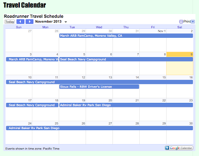 Roadrunner Travel Calendar