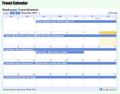 Roadrunner Travel Calendar