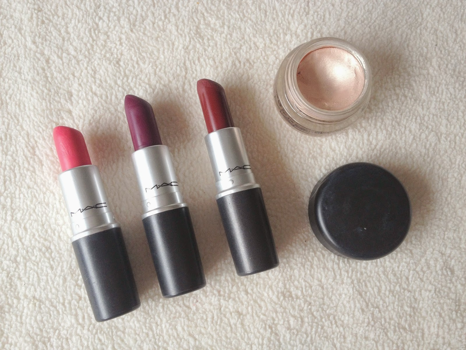MAC Collection, MAC Lipsticks in Impassioned, Rebel and Diva, MAC Paintpot in Bare Study