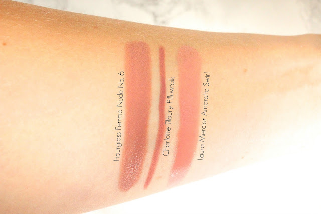Hourglass Femme Nude Lip Stylo in No.6, Charlotte Tilbury Lip Cheat in Pillowtalk and Laura Mercier Lip Parfait in Ameretto Swirl swatches