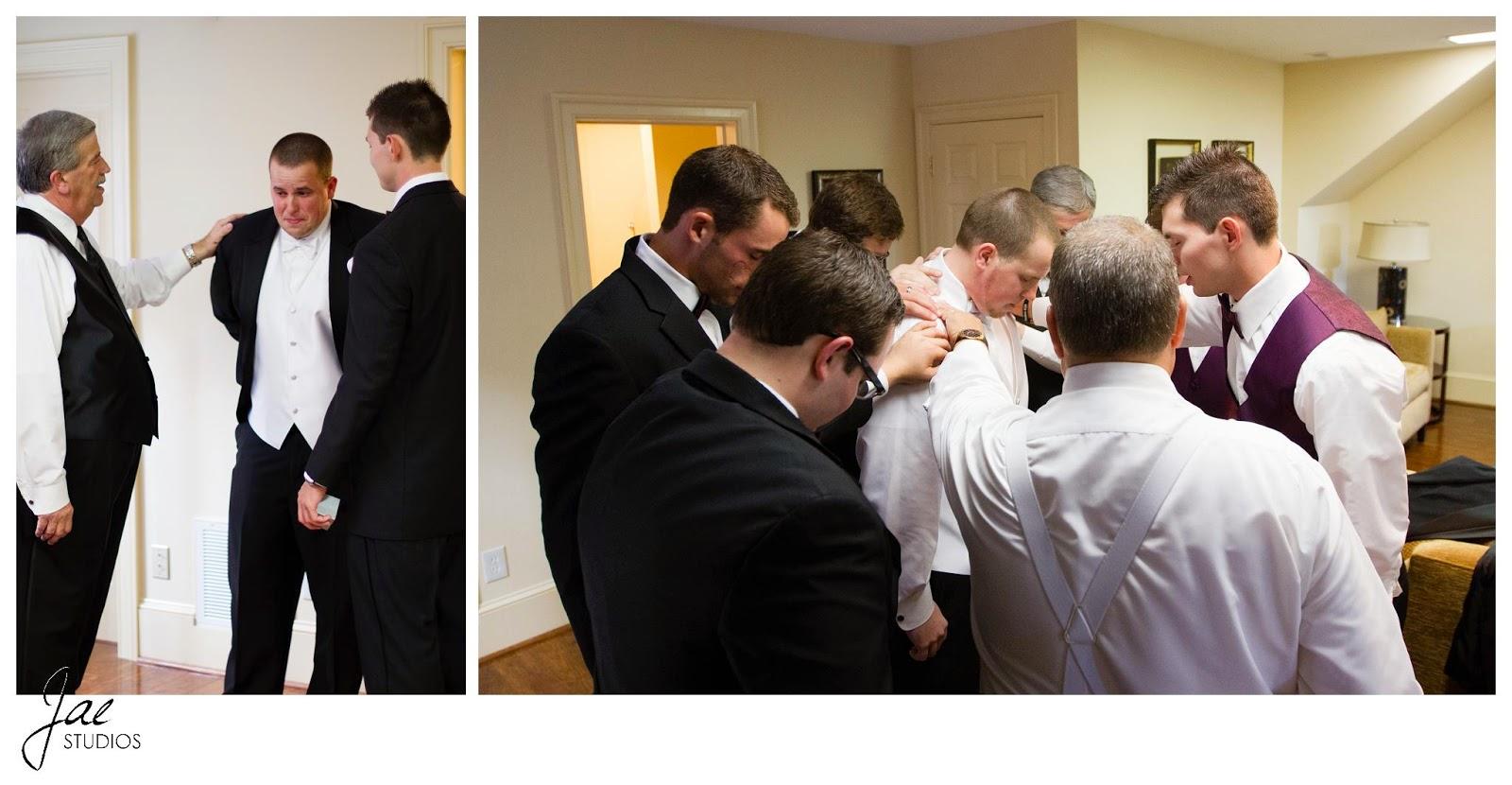 Jonathan and Julie, Bird cage, West Manor Estate, Wedding, Lynchburg, Virginia, Jae Studios, father, groomsmen, best man, crying, praying, tuxedo, purple, black