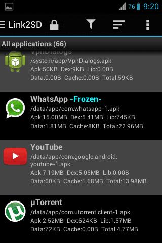 Select the frozen App