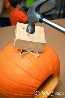 Carving a pumpkin using a cookie cutter