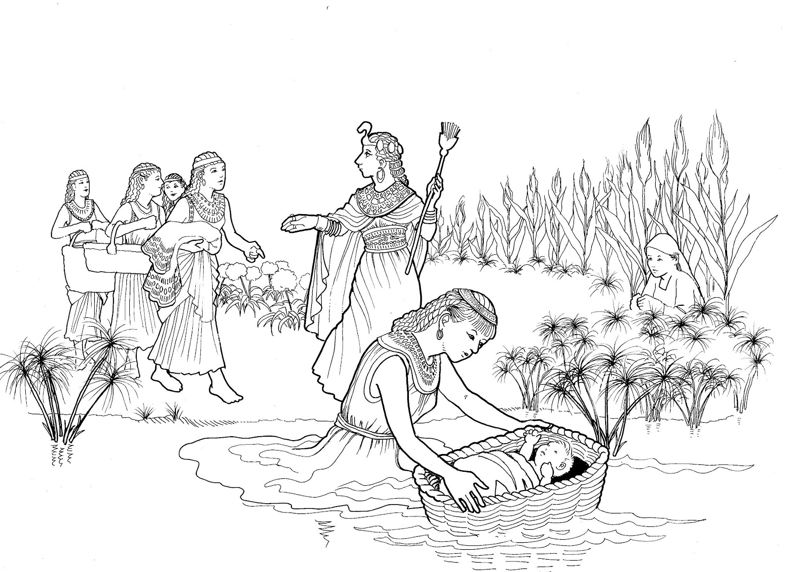 Make a joyful color moses and pharoah 39 s daughter for Bible coloring pages moses