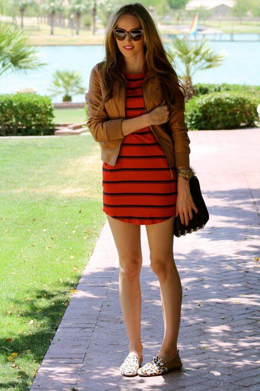 Personal Style Blogger-Golden Divine Blog-Striped Dress-Michael Stars-Yosi Samra-Leopard Loafers-Prada Sunglasses-Ashley Murphy