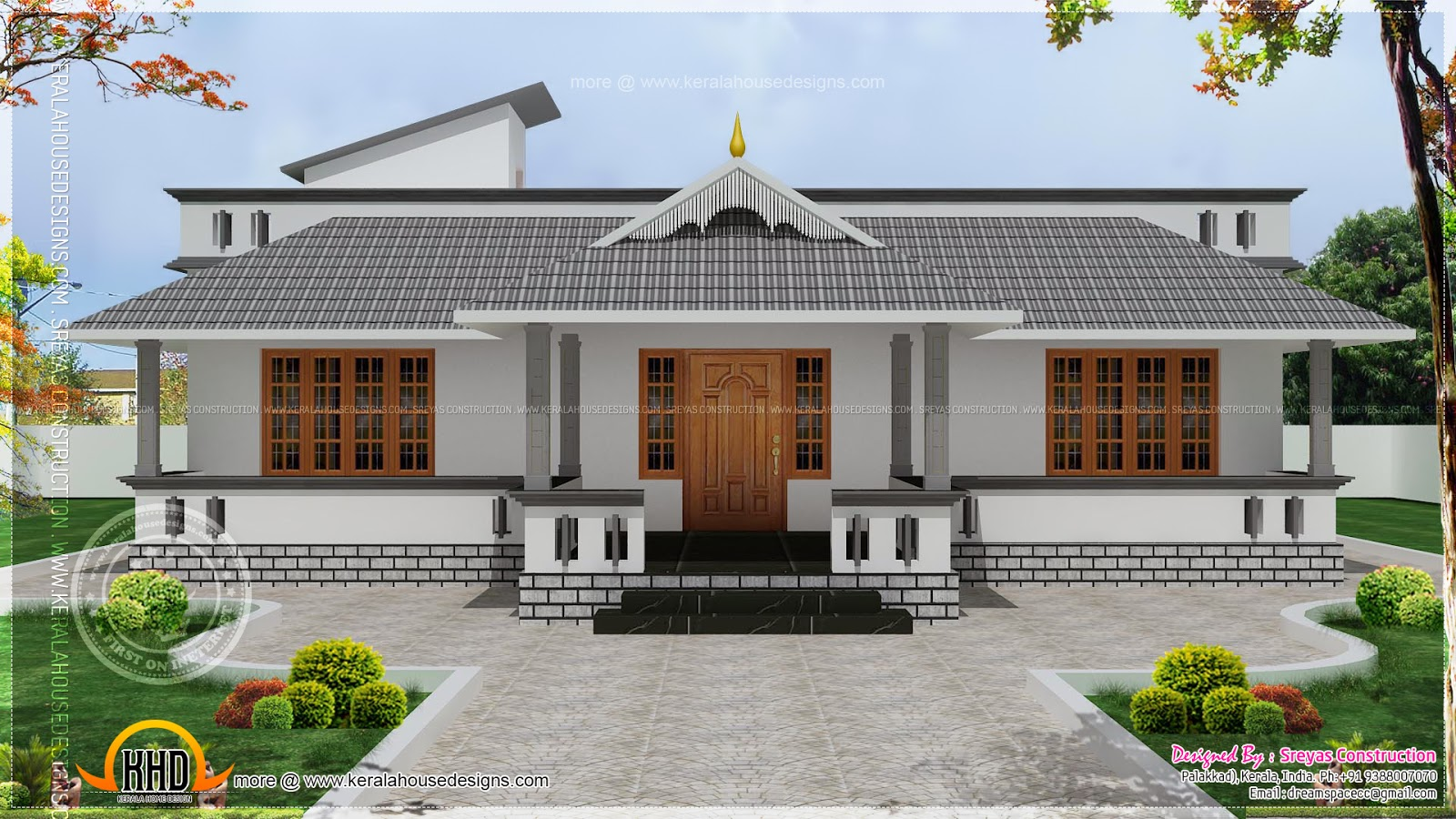 Single floor house with stair room kerala home design for Kerala style single storey house plans