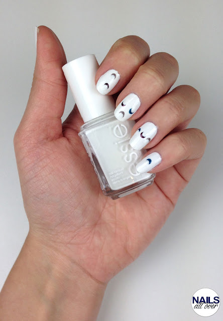 "Used: Essence Studio Nails 24/7 Nail Base -  Essie ""Blanc"" -  Trend It Up The Metallics Nail Polish 070 -  Butter London ""Bluey"" -  Trend It Up Double Volume & Shine Nail Polish 120 -  Seche Vite Dry Fast Top Coat -  Dotting Tool"