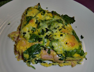 Frittata with ham, spinach and green beans