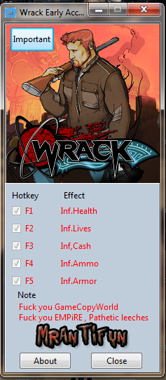 Wrack Early Access V 1.0.0.1 Trainer +5 MrAntiFun