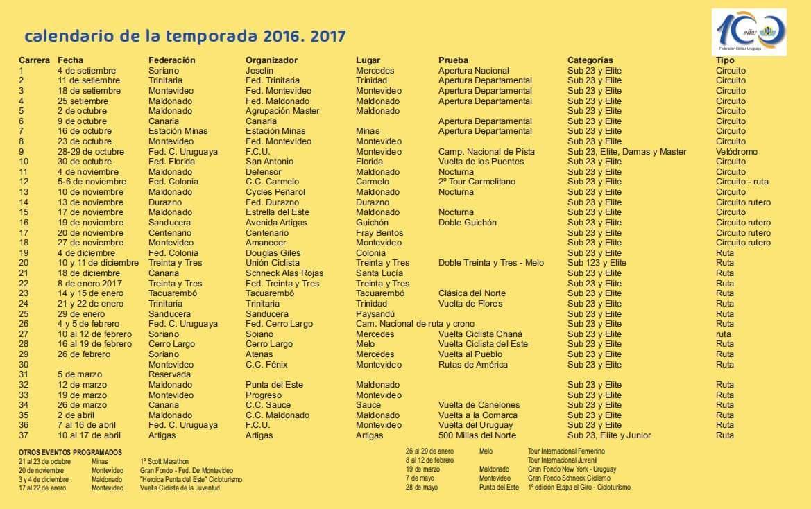 Calendario 2016/17