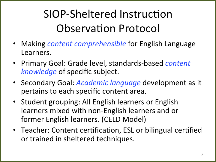 Teaching Little Language Learners Sheltered Instruction Siop Model