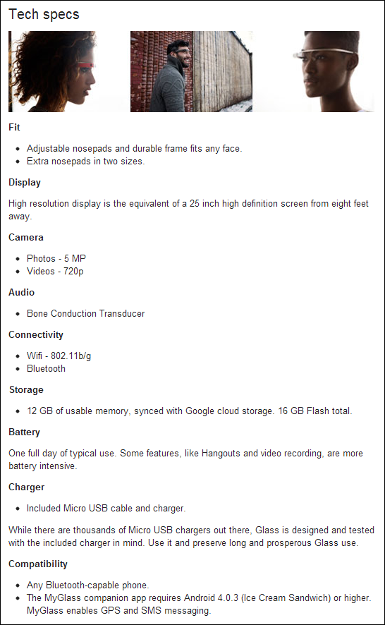 google glass specs features api docs myglass app  android ios details