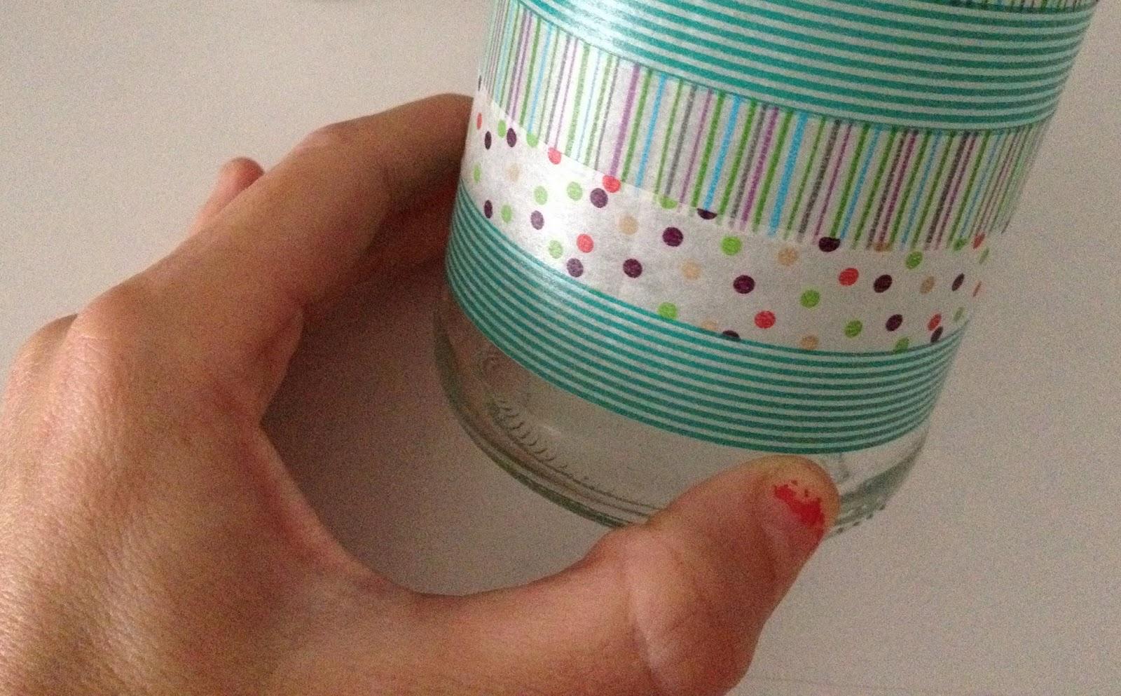 Mi rcoles mudo tarro decorado con washi tape el blog de - Como decorar con washi tape ...