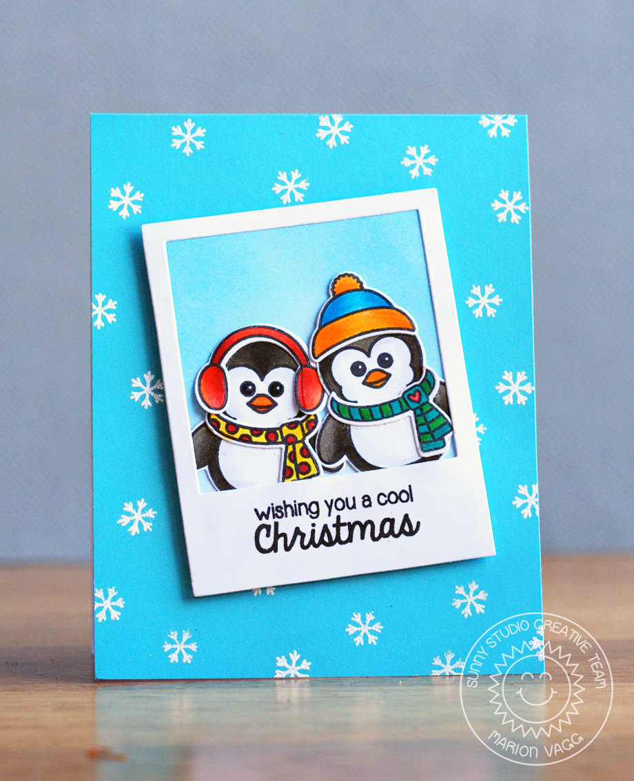 Sunny Studio Bundled Up Penguin Cool Christmas Card With Marion
