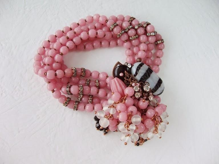 roosa käekett vintage klaashelmed helmed kristallid ehtekivid handicraft Vintage Style jewelry Armband Schmuck Bijoux Bracelet