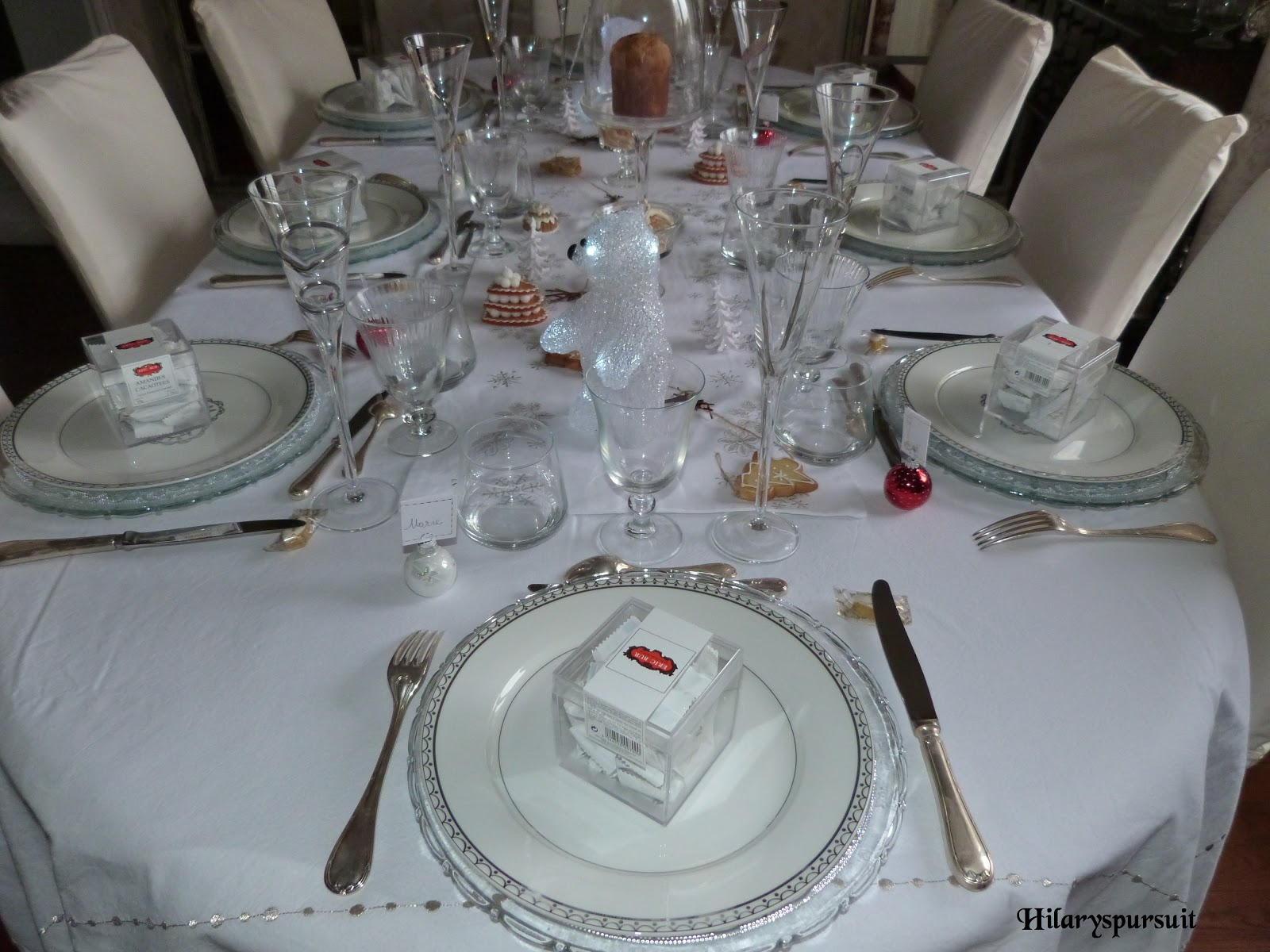 Dans la cuisine d 39 hilary sp cial f tes table de no l d 39 or ou table de no l d 39 argent xmas - Boite a gateau gifi ...