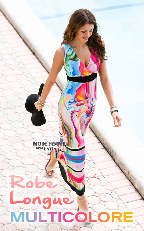 Robe longue multicolore motif floral
