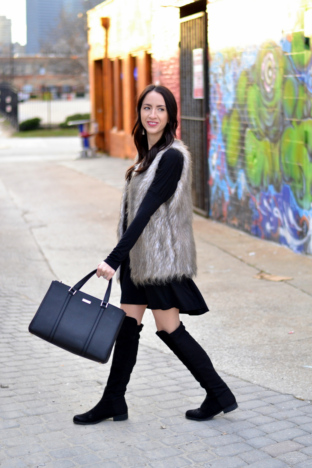 Black piko, fur vest, OTK boots, loose curls