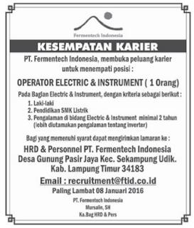 Lowongan Kerja PT. Fermentech Indonesia, Minggu 26 Desember 2015