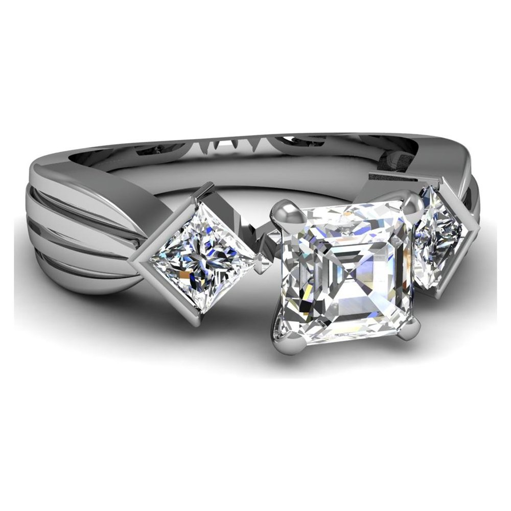 The bezel set princess cut engagement rings