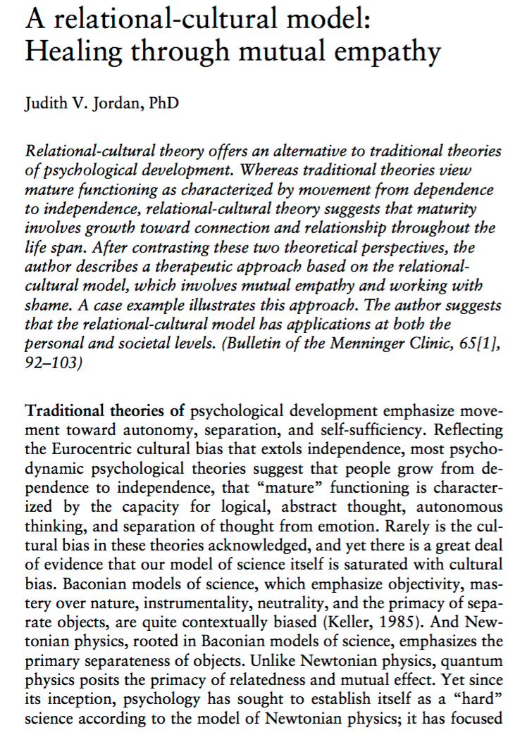 relational cultural theory Relational theory, with its focus on the development of relational/cultural theory concepts more understandable for a wide range of readers.