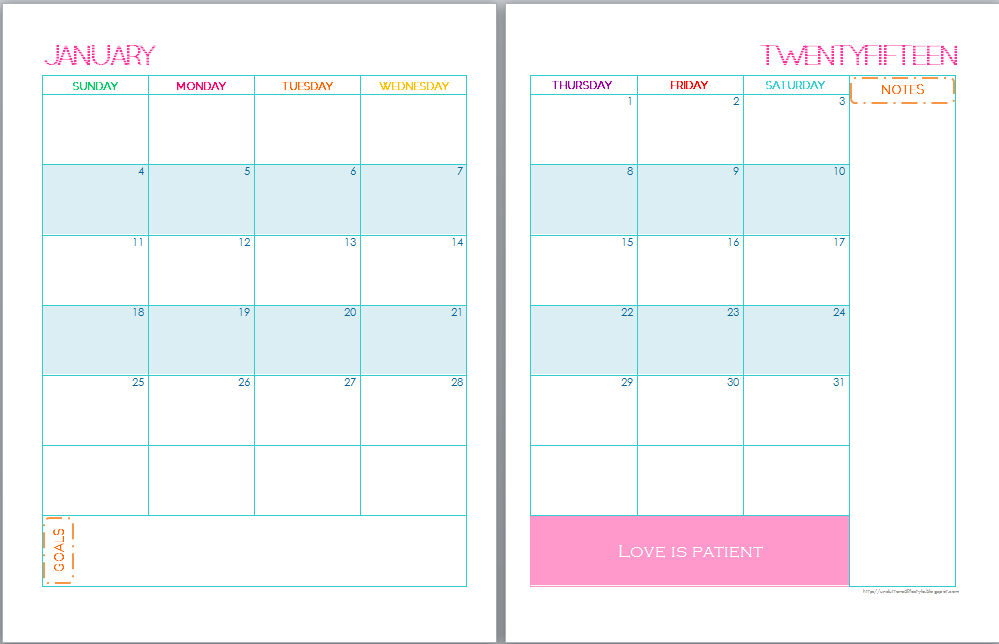 Page Monthly Calendar Template 2016 | Calendar Template 2016