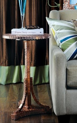 Penny tile accent table