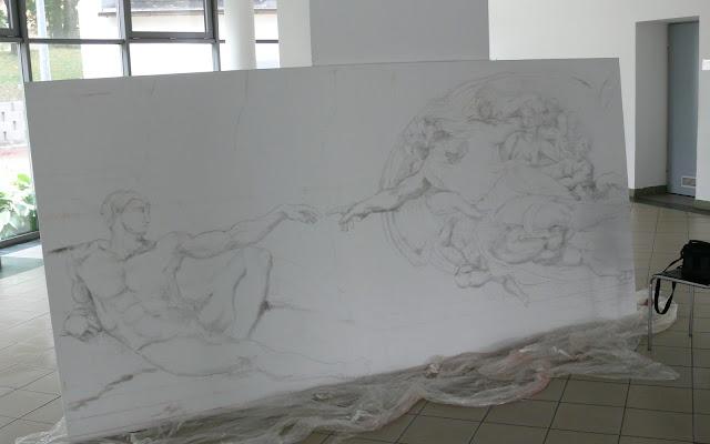 Malowanie reprodukcji obrazu olejnego, szkicowanie na płótnie, kopia znanego dzieła